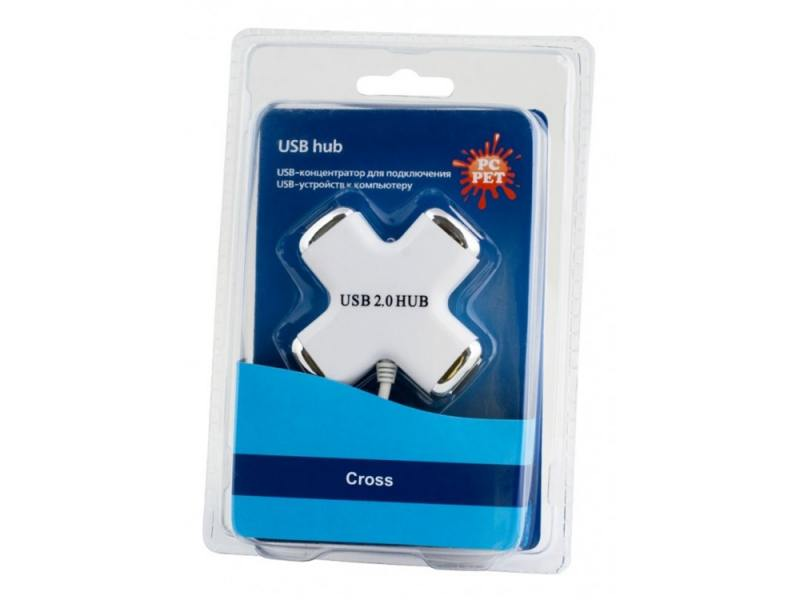 Концентратор USB PC Pet Сross 4 порта USB2.0 белый
