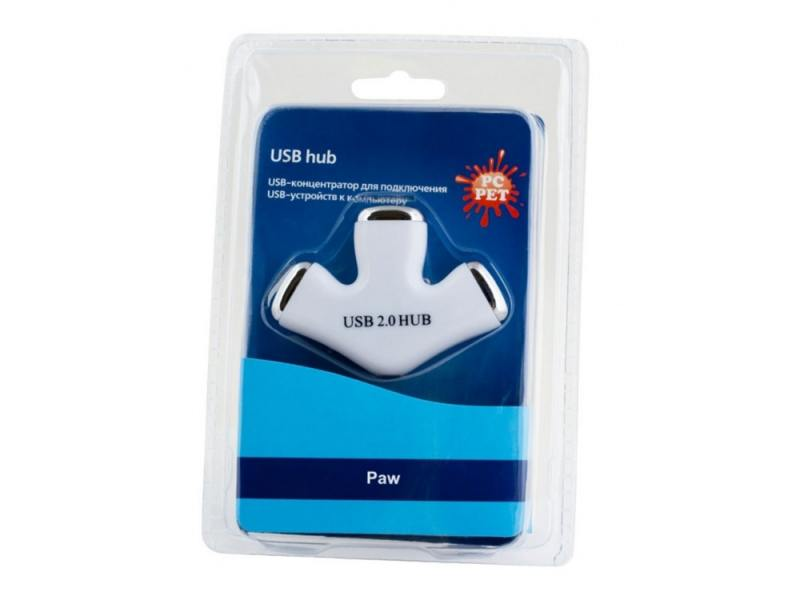 Концентратор USB PC Pet Paw 3 порта USB2.0 белый