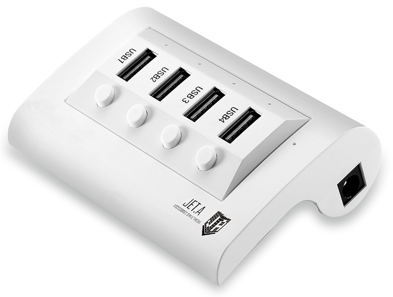 USB-концентратор Jet.A JA-UH14 на 4 порта USB 2.0, с выключателями портов, белый