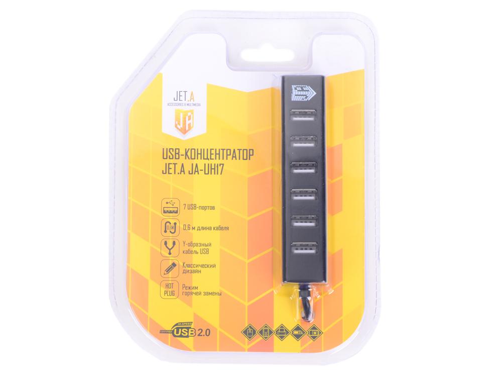 USB-концентратор Jet.A JA-UH17 на 7 портов USB 2.0, Hot Plug, с питанием по Y-образному кабелю USB, чёрный