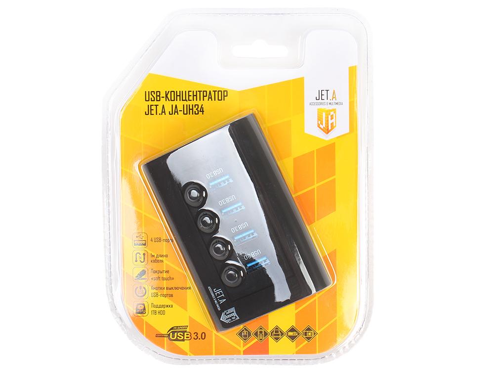 Картинка для USB-концентратор Jet.A JA-UH34 на 4 порта USB 3.0, с выключателями портов, чёрный