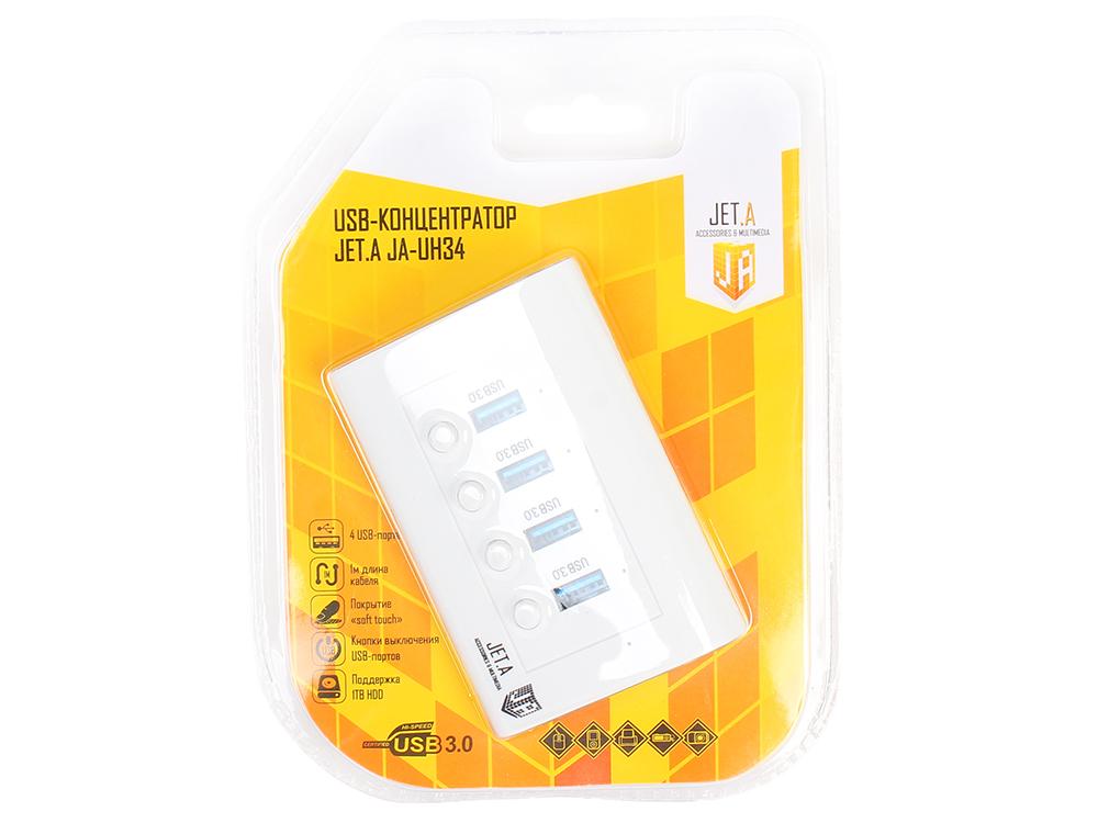 USB-концентратор Jet.A JA-UH34 на 4 порта USB 3.0, с выключателями портов, белый