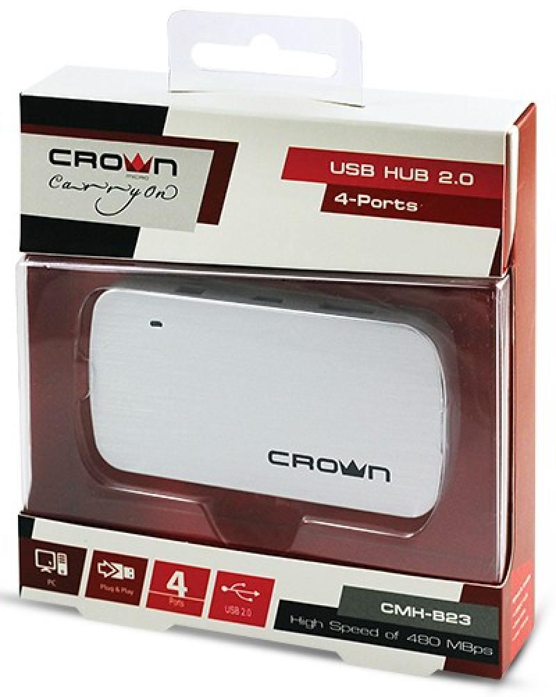 Концентратор USB 2.0 Crown CMH-B23 4 x USB 2.0 серебристый CM000001179