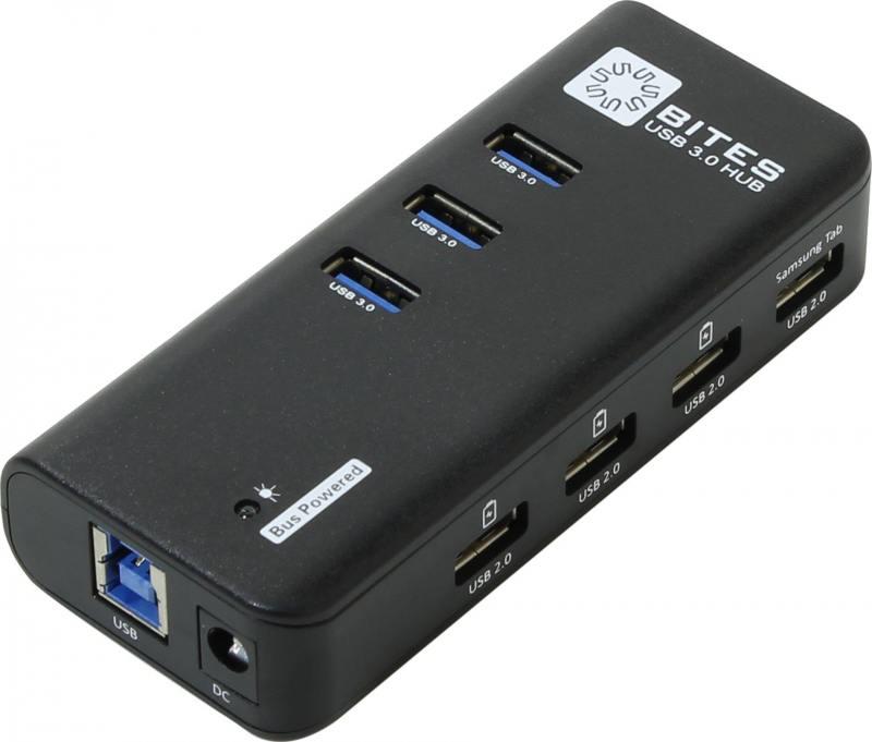 Концентратор USB 3.0 5bites HB33-304PBK 3 х USB 3.0 4 x USB 2.0 черный