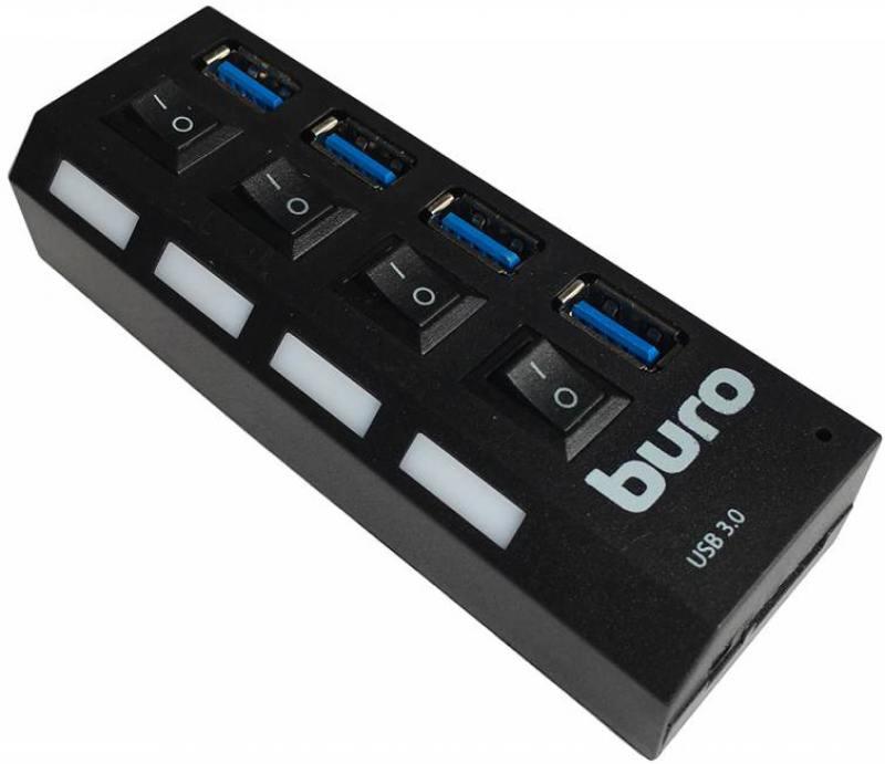 Концентратор USB 3.0 Buro BU-HUB4-U3.0-L 4 х USB 3.0 черный