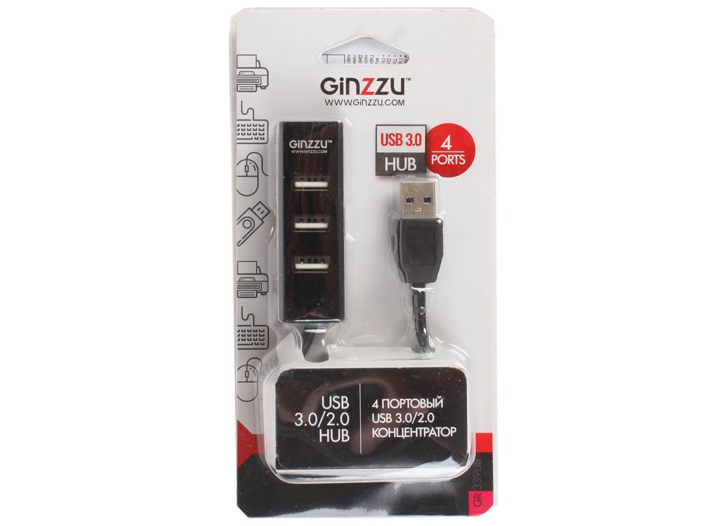 Концентратор 4-х портовый USB 3.0/2.0 Ginzzu GR-339UB, 1 порт USB 3.0 + 3 порта USB 2.0, интерфейсный кабель USB3.0 - 30 см, упаковка блистер, черный