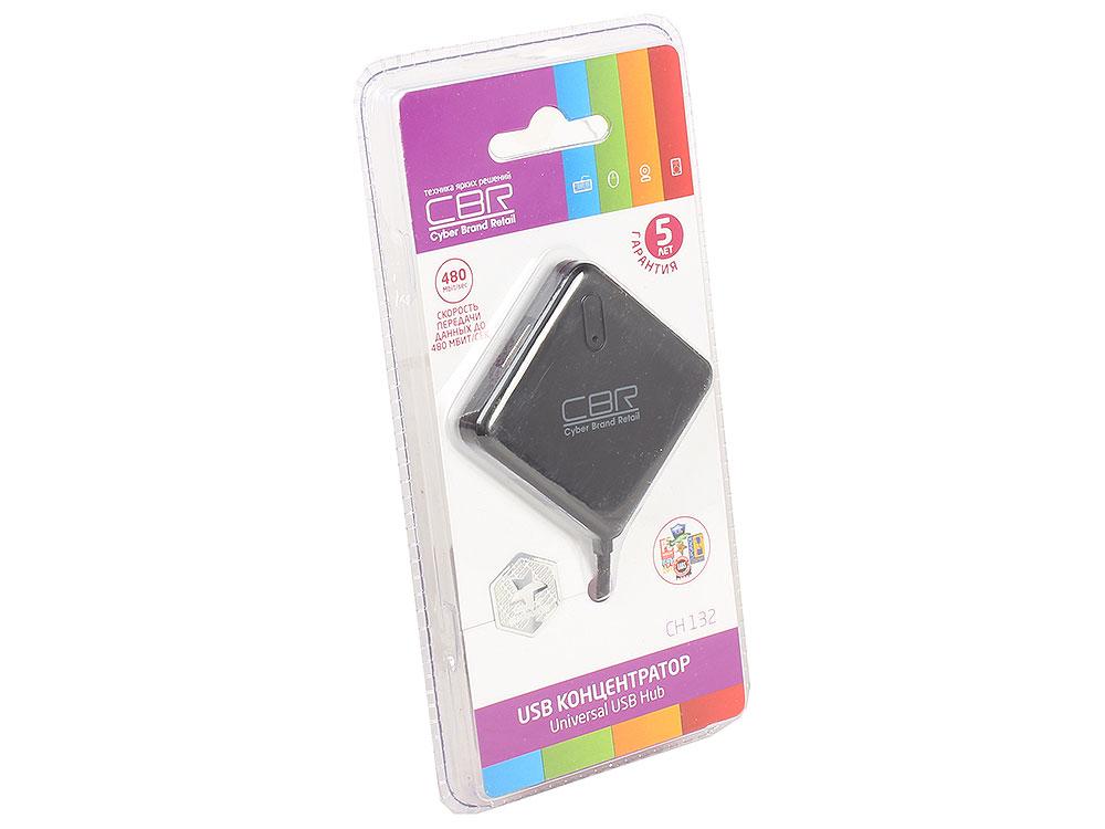 Концентратор CBR CH 132, 4 порта. USB 2.0, Поддержка Plug&Play. Длина провода 12,5+-2см.