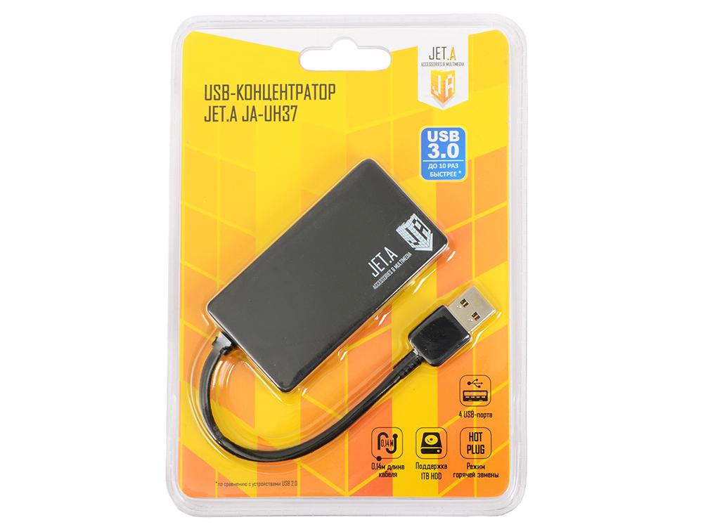USB-концентратор Jet.A JA-UH37 на 4 порта USB 3.0, Hot Plug, ультракомпактный, чёрный