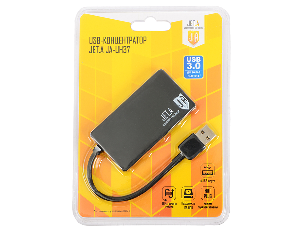 USB-концентратор Jet.A JA-UH37 на 4 порта USB 3.0, Hot Plug, ультракомпактный, чёрный 10pcs lot type a 10 13 female usb 4 pin plug socket jack connector plug socket with cover seat welding wire adapeter short body