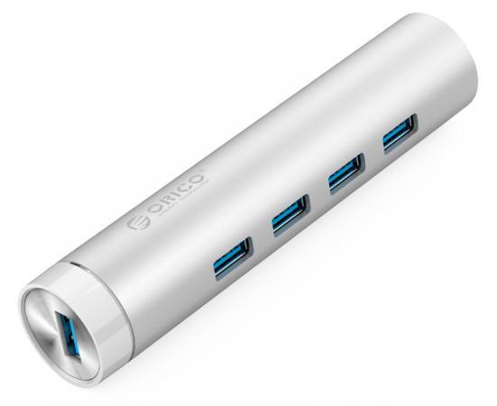Концентратор USB 3.0 Orico ARH4-U3 4 х USB 3.0 серебристый концентратор usb 3 0 orico w5ph4 u3 bk 4 х usb 3 0 черный