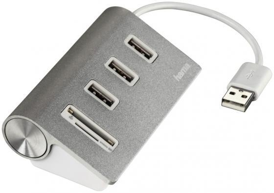 Концентратор USB 2.0 HAMA Kombi H-54142 3 x USB 2.0 серебристый звуковая карта usb hama h 51620 7 1 блистер [00051620]