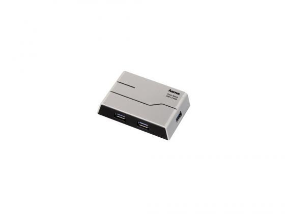 Концентратор USB 3.0 HAMA H-39879 — серебристый черный