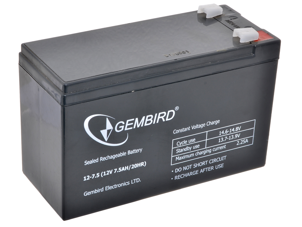 Аккумулятор для ИБП Gembird BAT-12V7.5AH аккумулятор для ибп ventura gp 6 4 5 s