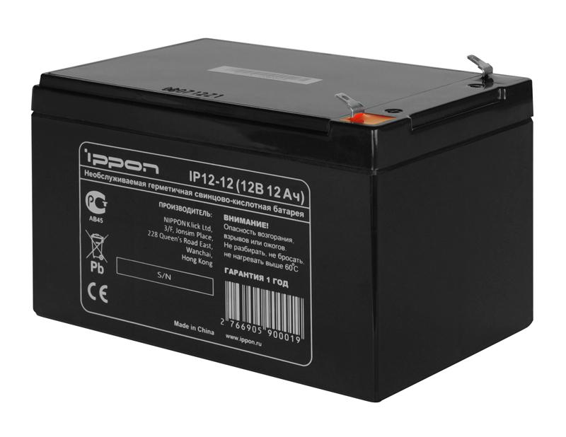 Аккумулятор Ippon IP12-12 12V/12Ah аккумулятор для ибп sven sv12120 12v 12ah sv 0222012