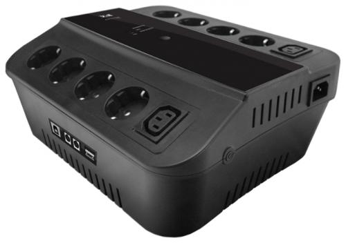 ИБП 3Cott 3C-650-SPB, 650 ВА / 360 Вт, линейно-интерактивный, управляемый, 3-х ступенчатый AVR, выходы: 8 евро-розетки + 2 IEC