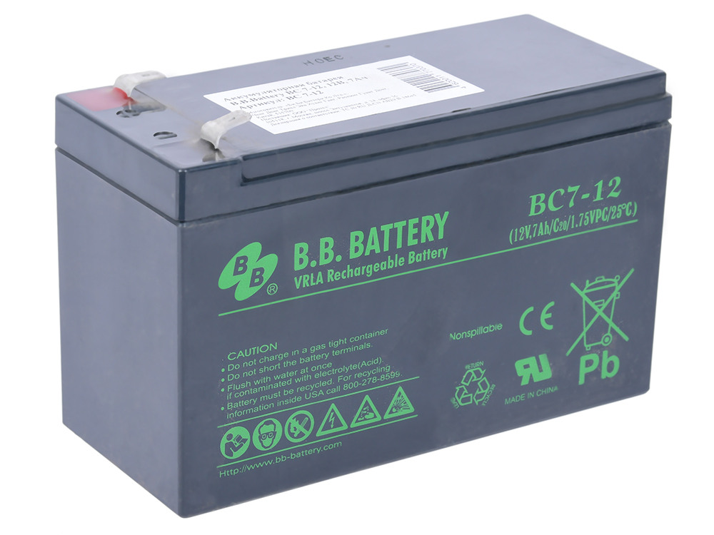 Батарея B.B. Battery BC 7-12 7Ач 12B us eu free tax electric bike battery 36v 15ah water bottle 18650 li ion battery 36v 500w e bike kettle battery with charger bms