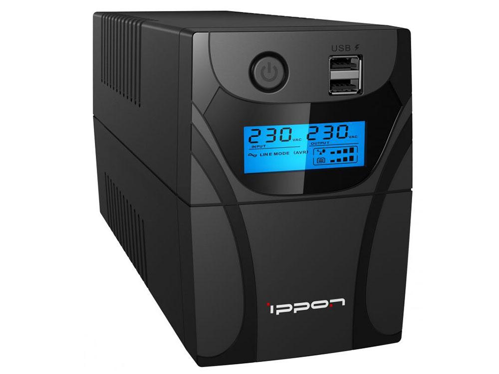 ИБП Ippon Back Power Pro II 600 600VA/360W LCD,RJ-45,USB (4 x IEC) ибп ippon back power pro lcd 400 3 x iec