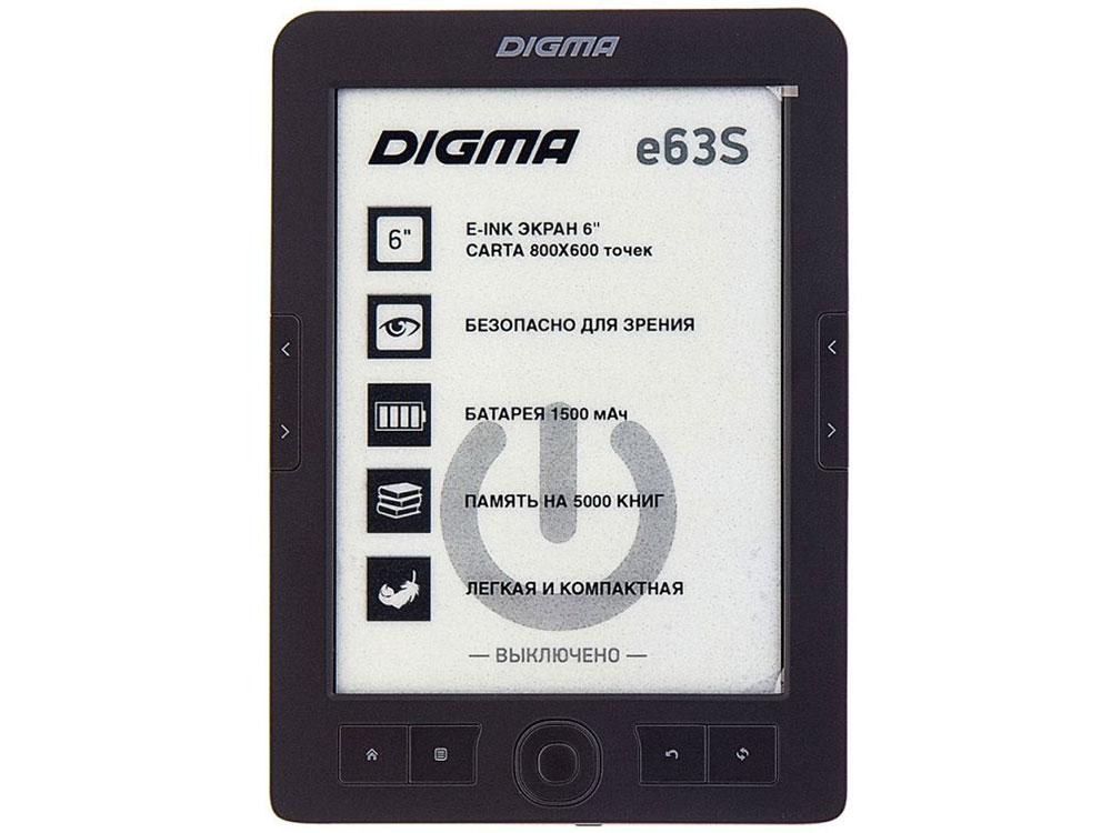 Электронная книга Digma E63S 6 E-Ink 4Gb серый электронная книга reader book 2 6 e ink pearl 800x600 256mb 4gb белый rb2 wb ru
