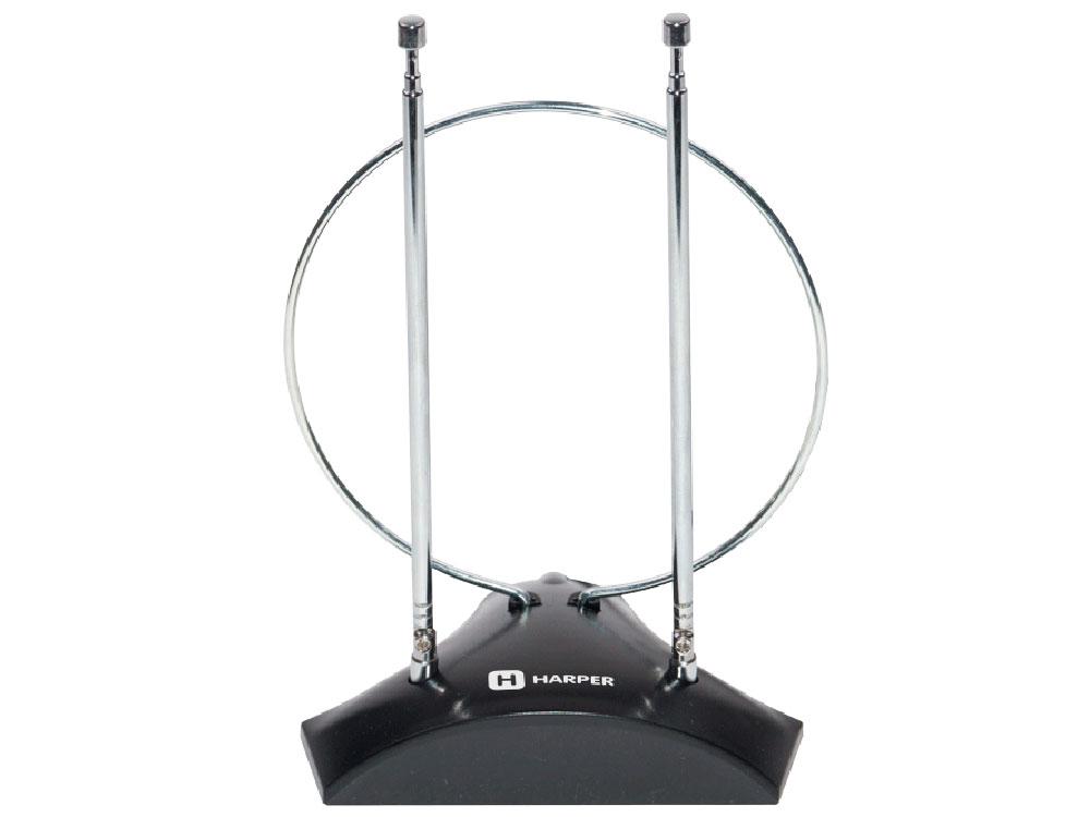 Телевизионная антенна HARPER ADVB-2010 (комнатная, активная;DVB-T2; VHF / UHF (174–230 MHz, 470-862 MHz)  1 м)