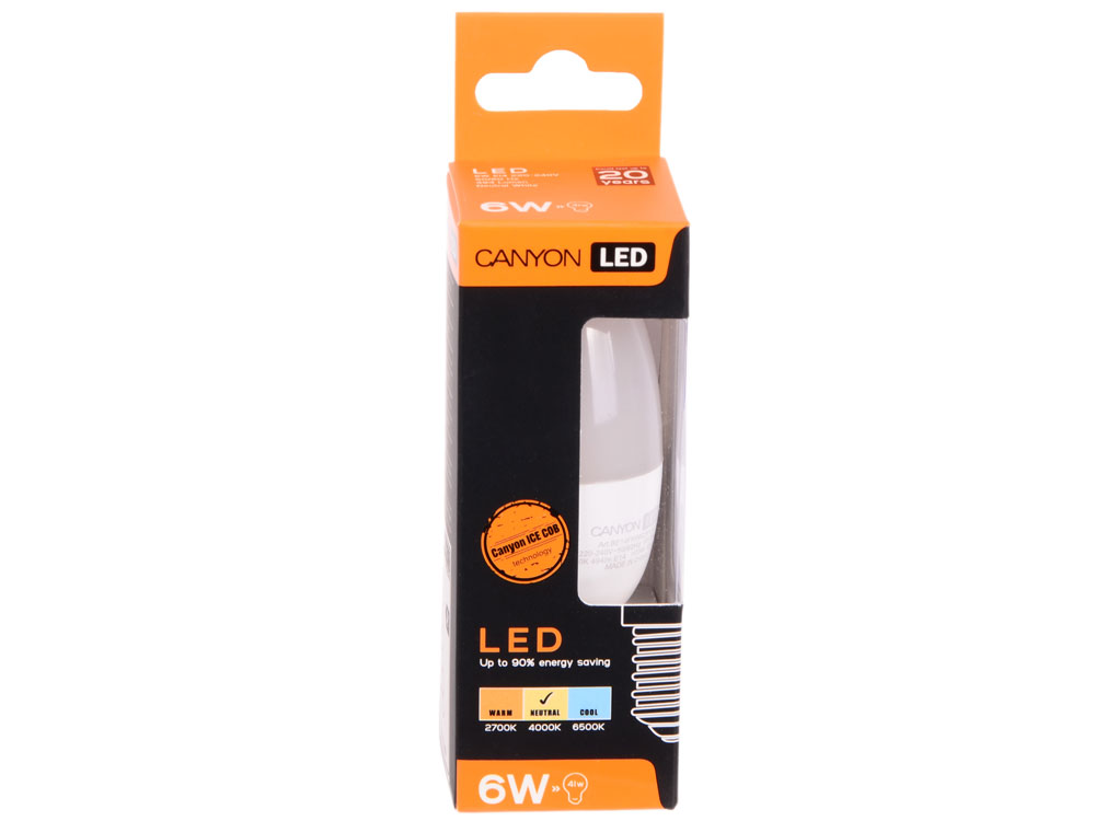 Лампа светодиодная свеча Canyon E14 6W 2700K (BE14FR6W230VW)
