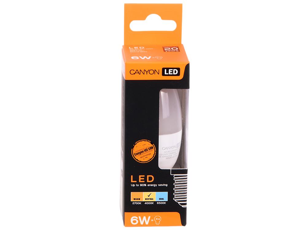 Лампа светодиодная свеча Canyon E14 6W 4000K (BE14FR6W230VN)