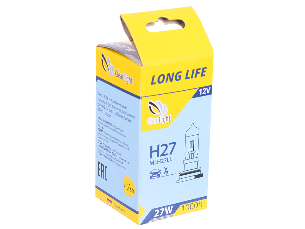 Лампа Галогеновая с увеличенным сроком службы H27(Clearlight)12V-27W LongLife (1шт.) 881 894 h27 halogen bulbs 881 27w headlights fog lamps light running parking 12v car light source drl daytime yellow amber day