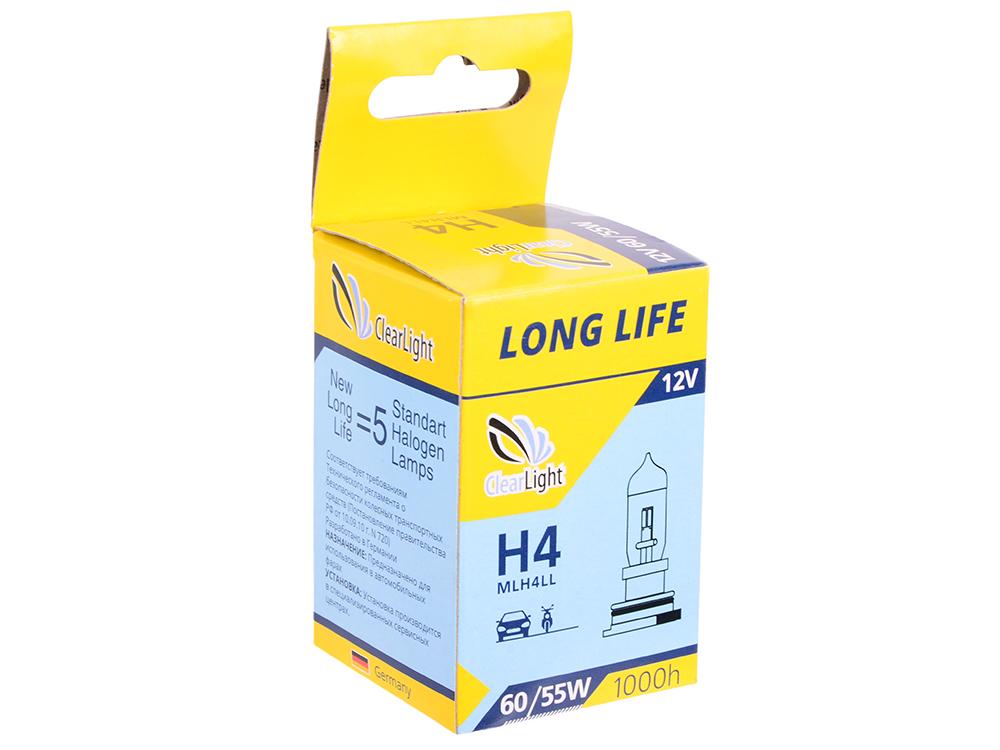 Лампа Галогеновая с увеличенным сроком службы H4(Clearlight)12V-60/55W LongLife (1шт.)