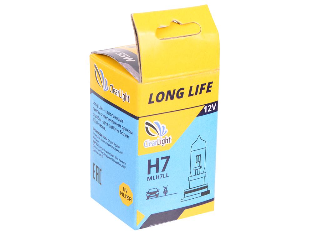 Лампа Галогеновая с увеличенным сроком службы H7(Clearlight)12V-55W LongLife (1шт.)