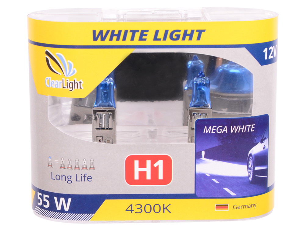 Лампа Галогеновая с эффектом ксенона 4300К H1(Clearlight)12V-55W  WhiteLight (2 шт.)