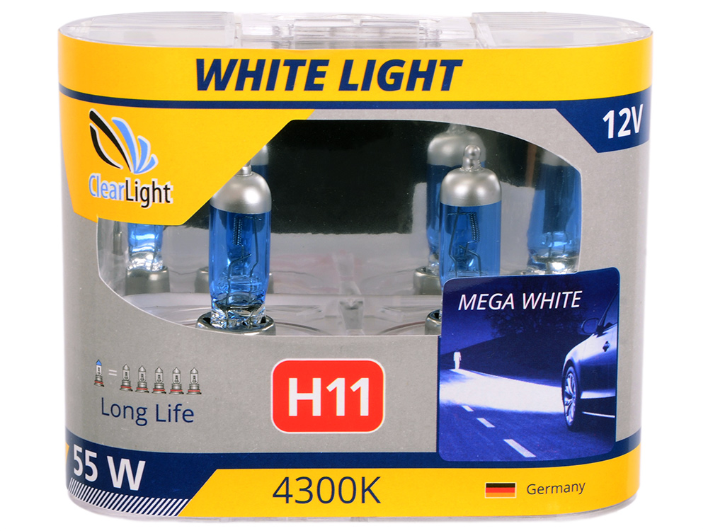 Лампа Галогеновая с эффектом ксенона 4300К H11(Clearlight)12V-55W WhiteLight (2 шт.)