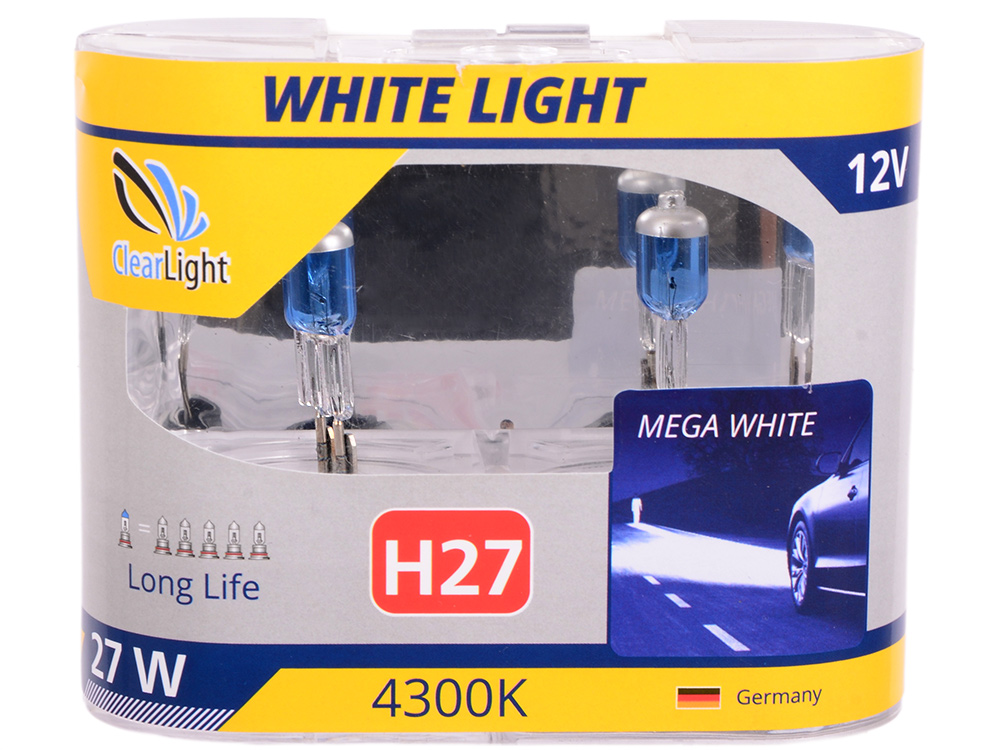 Лампа Галогеновая с эффектом ксенона 4300К H27(Clearlight)12V-55W WhiteLight (2 шт.)