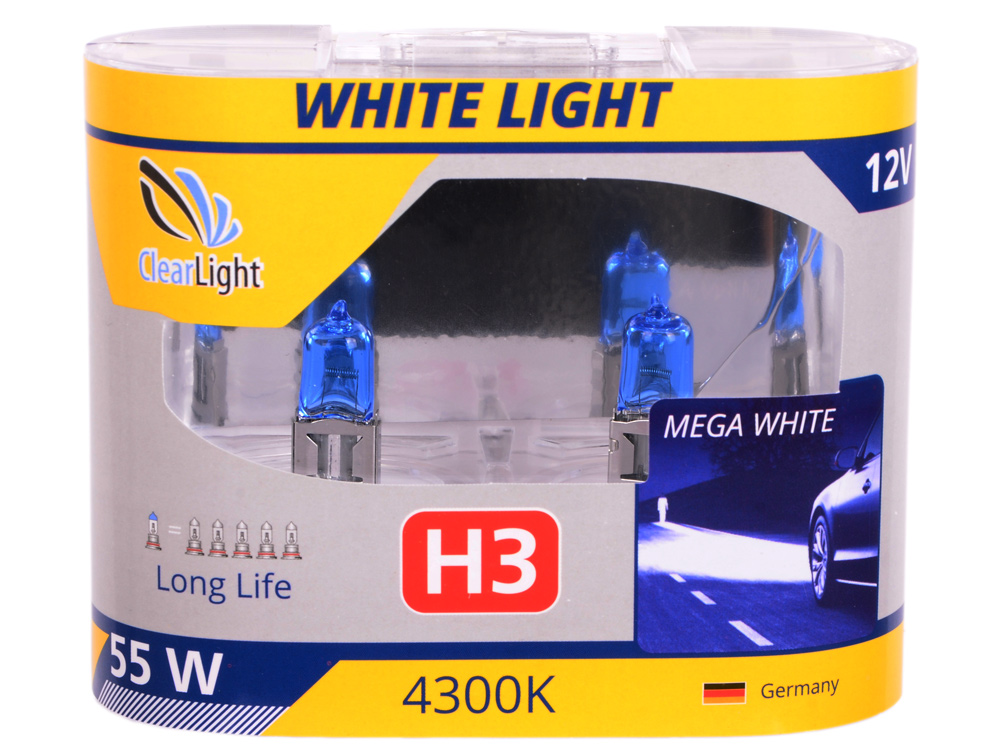 Лампа Галогеновая с эффектом ксенона 4300К H3(Clearlight)12V-55W WhiteLight (2 шт.)