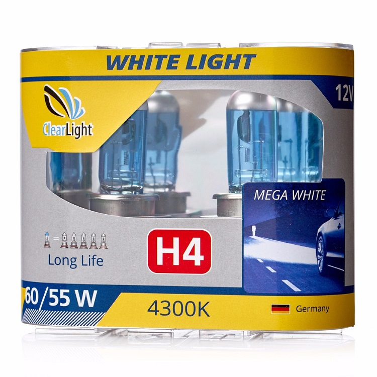Лампа Галогеновая с эффектом ксенона 4300К H4(Clearlight)12V-60/55W WhiteLight (2 шт.)