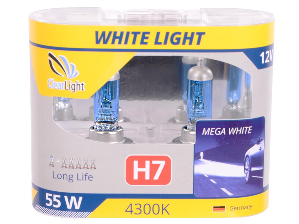 Лампа Галогеновая с эффектом ксенона 4300К H7(Clearlight)12V-55W WhiteLight (2 шт.)