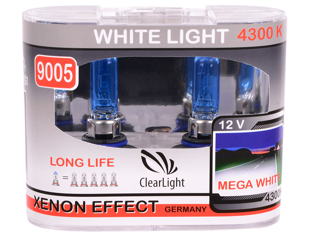 Лампа Галогеновая с эффектом ксенона 4300К HB3(Clearlight)12V-65W WhiteLight (2 шт.)