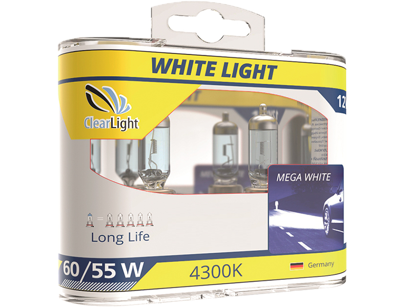 Лампа Галогеновая с эффектом ксенона 4300К HB4(Clearlight)12V-55W WhiteLight (2 шт.)