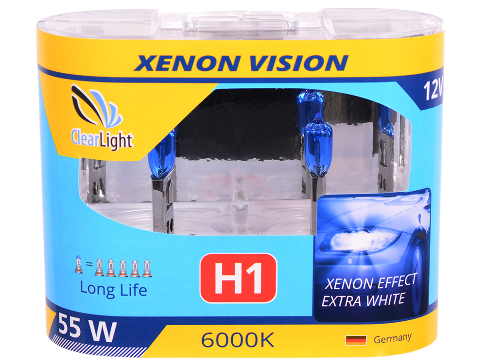 Лампа Галогеновая с эффектом ксенона 6000К H1(Clearlight)12V-55W  XenonVision (2 шт.)