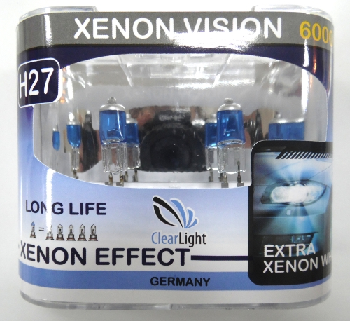 Лампа Галогеновая с эффектом ксенона 6000К H27(Clearlight)12V-55W XenonVision (2 шт.)