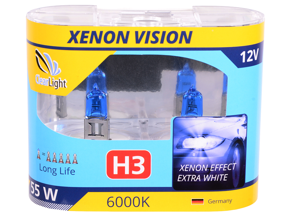 Лампа Галогеновая с эффектом ксенона 6000К H3(Clearlight)12V-55W XenonVision (2 шт.)