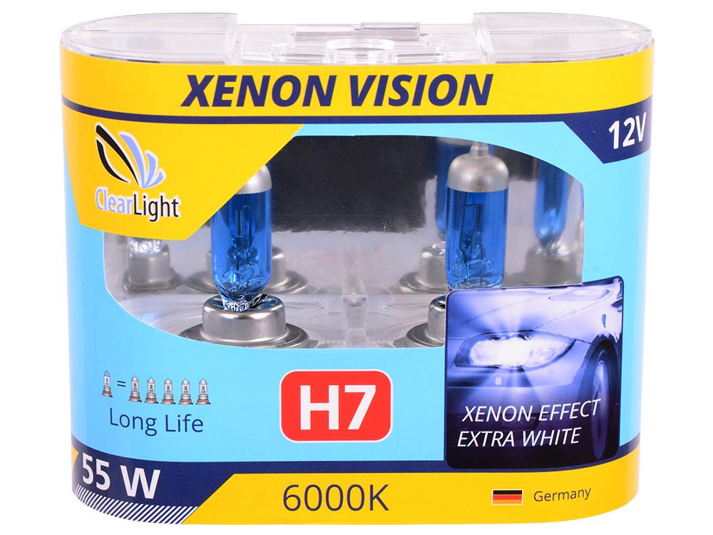 Лампа Галогеновая с эффектом ксенона 6000К H7(Clearlight)12V-55W XenonVision (2 шт.)