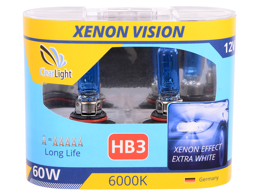 Лампа Галогеновая с эффектом ксенона 6000К HB3(Clearlight)12V-65W XenonVision (2 шт.)