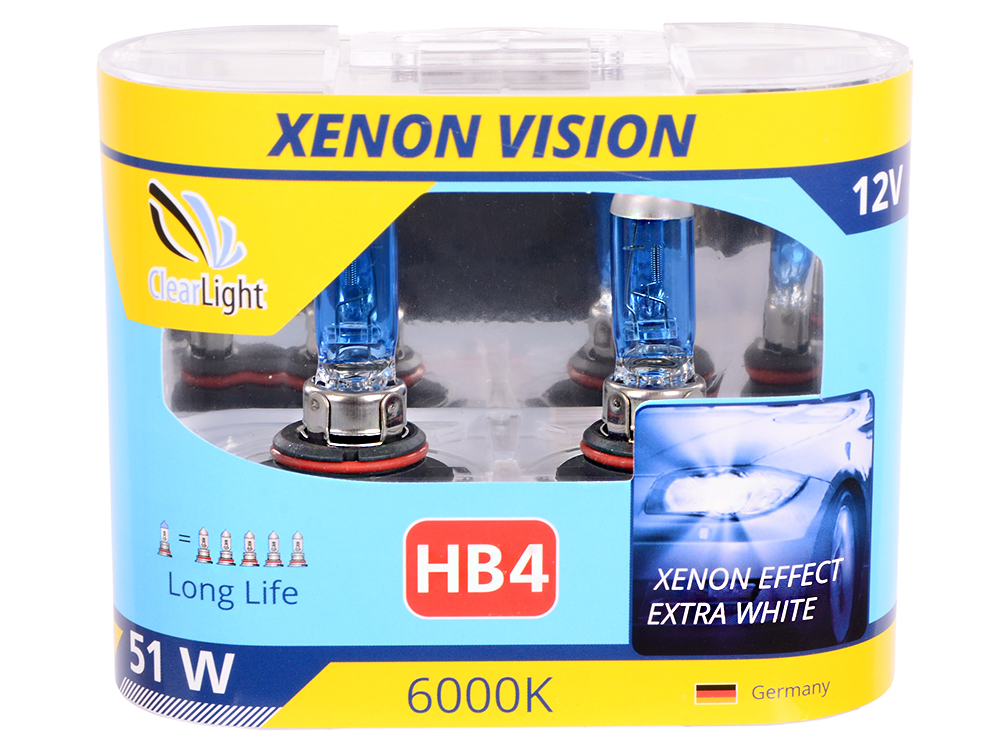 Лампа Галогеновая с эффектом ксенона 6000К HB4(Clearlight)12V-55W XenonVision (2 шт.)