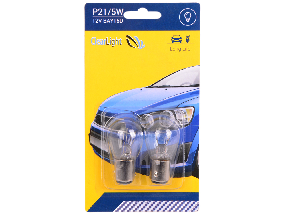Лампа галогеновая P21/5W (Clearlight) 12V BAY15D (блистер 2 шт.)