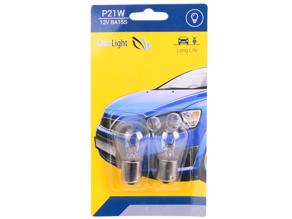 Лампа галогеновая P21W (Clearlight) 12V BA15S (блистер 2 шт.)