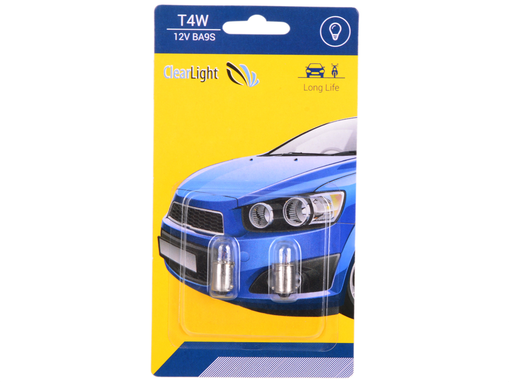 Лампа галогеновая T4W (Clearlight) 12V BA9S (блистер 2 шт.)