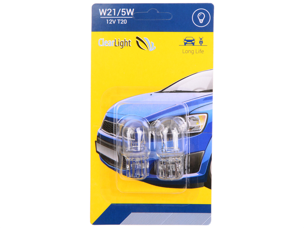 Лампа галогеновая W21/5W (Clearlight) 12V (блистер 2 шт.)