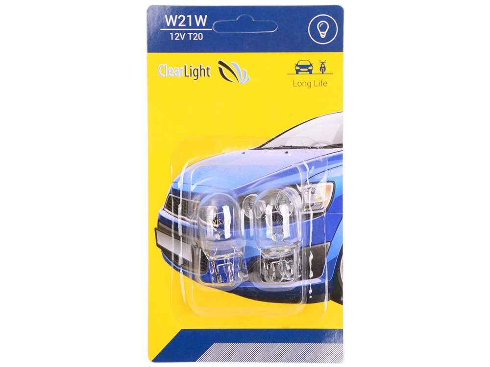 Лампа галогеновая W21W (Clearlight) 12V (блистер 2 шт.)