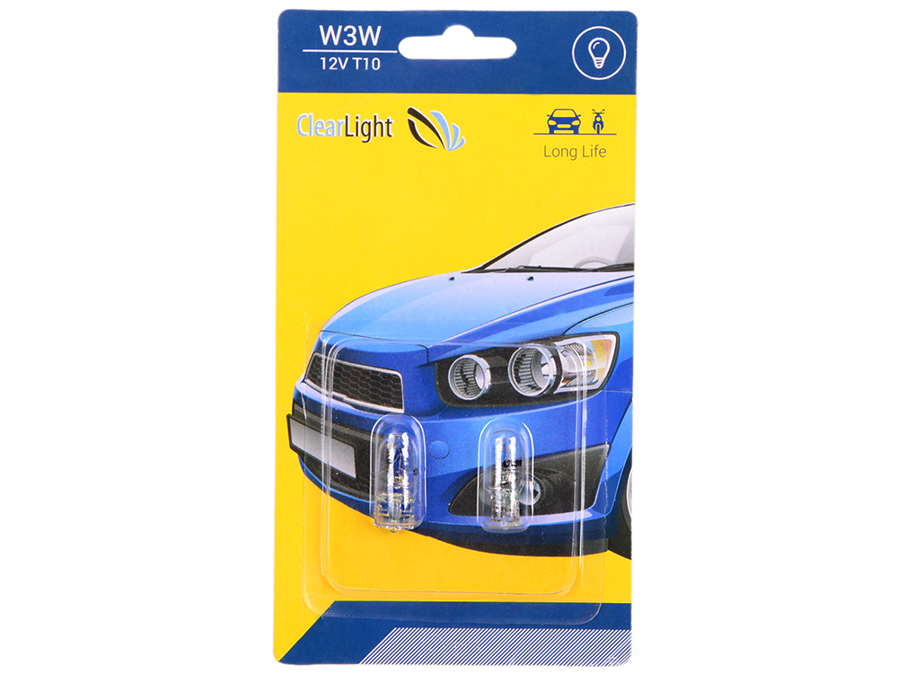 Лампа галогеновая W3W (Clearlight) T10 12V (блистер 2 шт.)
