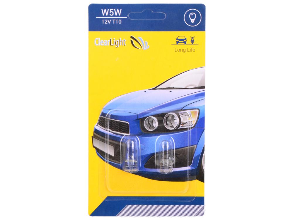 Лампа галогненовая W5W (Clearlight) T10 12V (блистер 2 шт.)