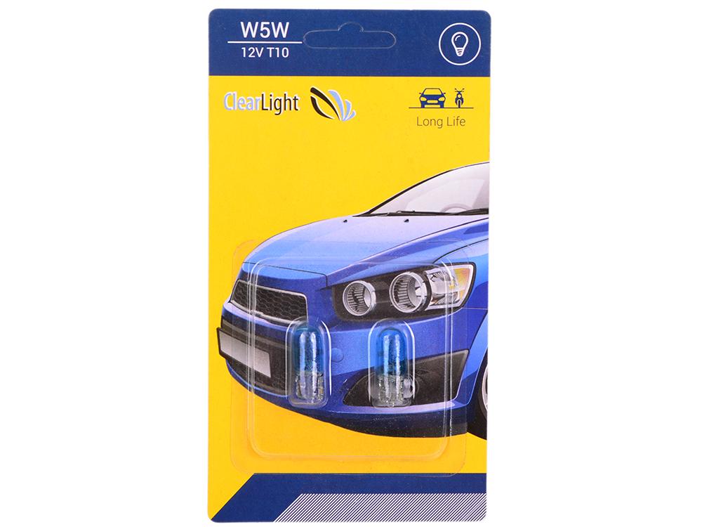 Лампа галогеновая W5W (Clearlight) T10 12V синяя (блистер 2 шт.)